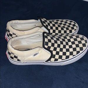 Men's checkerboard vans slip on shoes